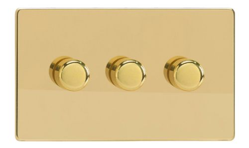 Varilight JDVDP303S Screwless Polished Brass 3 Gang 2-Way Push On/Off LED Dimmer 0-120W V-Pro
